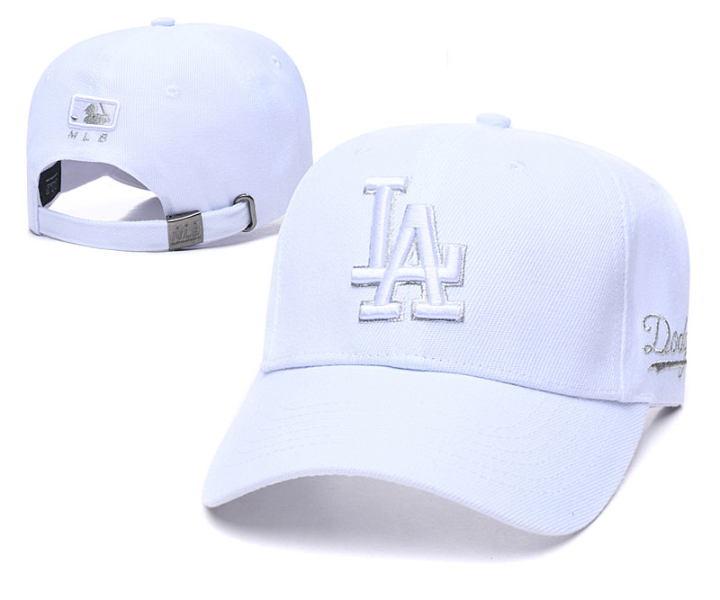 Dodgers Team Logo All White Peaked Adjustable Hat TX