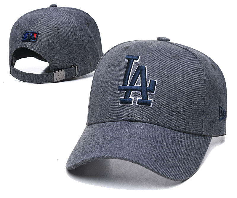 Dodgers Team Logo Gray Peaked Adjustable Hat TX