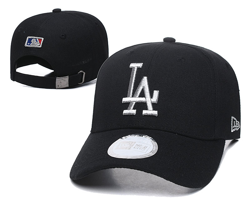 Dodgers Team Silver Logo Black Peaked Adjustable Hat TX