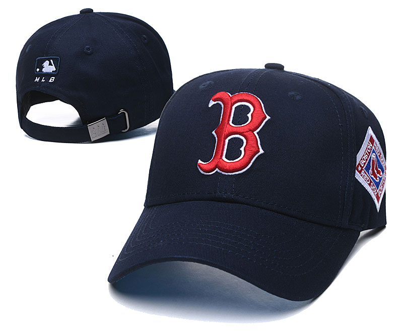 Red Sox Team Logo Black Peaked Adjustable Hat TX