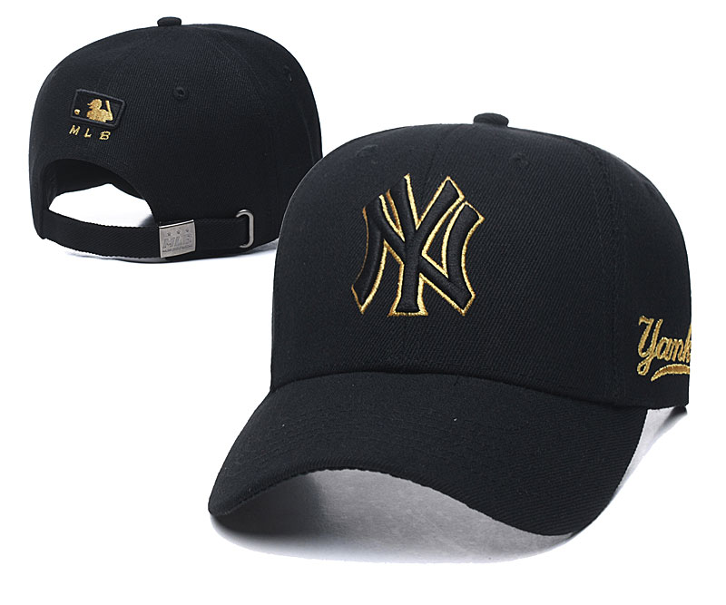 Yankees Fresh Gold Logo Black Peaked Adjustable Hat TX