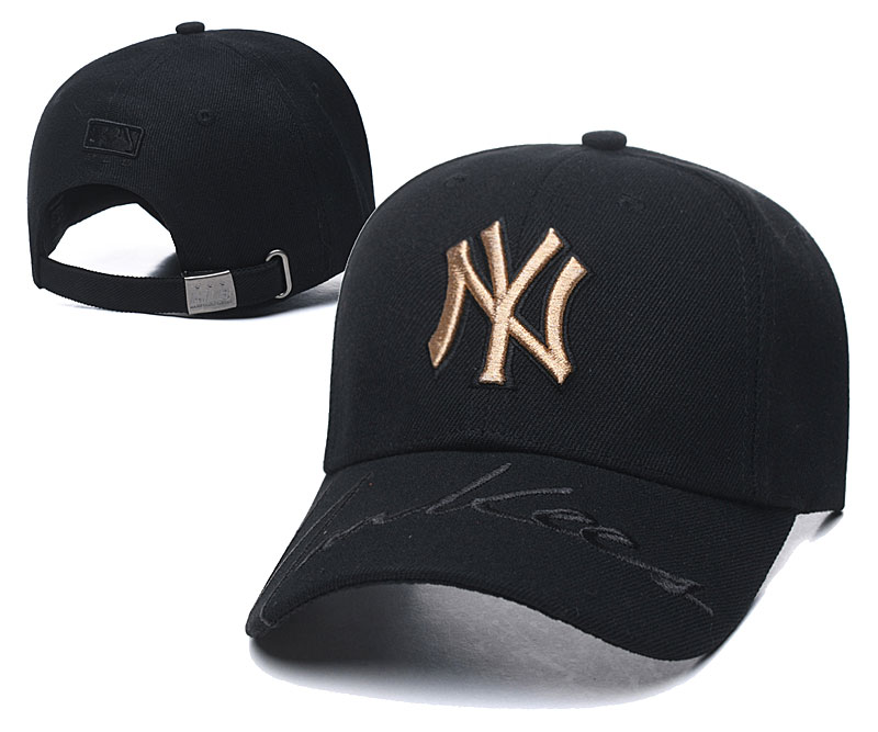 Yankees Fresh Gold Logo Black Peaked Adjustable Hats TX