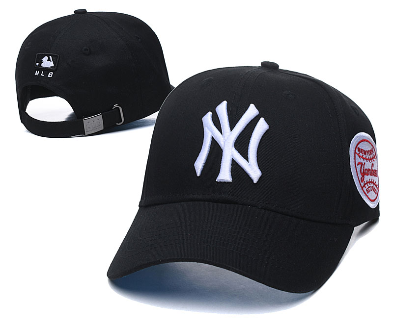 Yankees Fresh White Logo Black Peaked Adjustable Hat TX