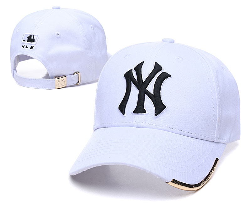 Yankees Team Black Logo White Peaked Adjustable Hat TX