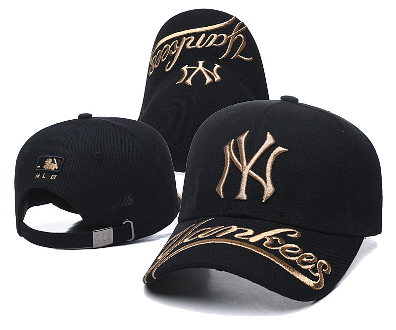 Yankees Team Gold Logo Black Peaked Adjustable Hat TX