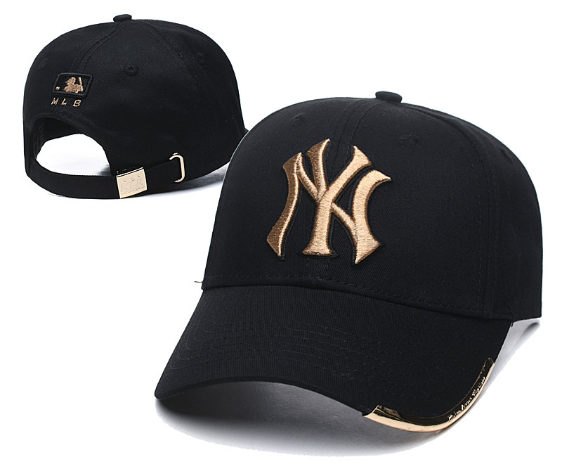 Yankees Team Gold Logo Black Peaked Adjustable Hats TX