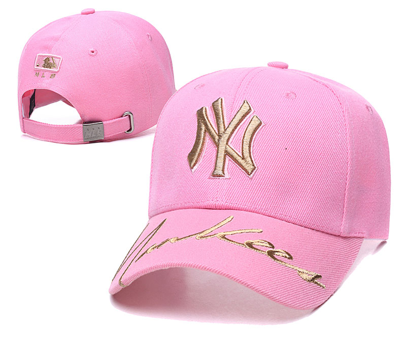 Yankees Team Gold Logo Pink Peaked Adjustable Hat TX
