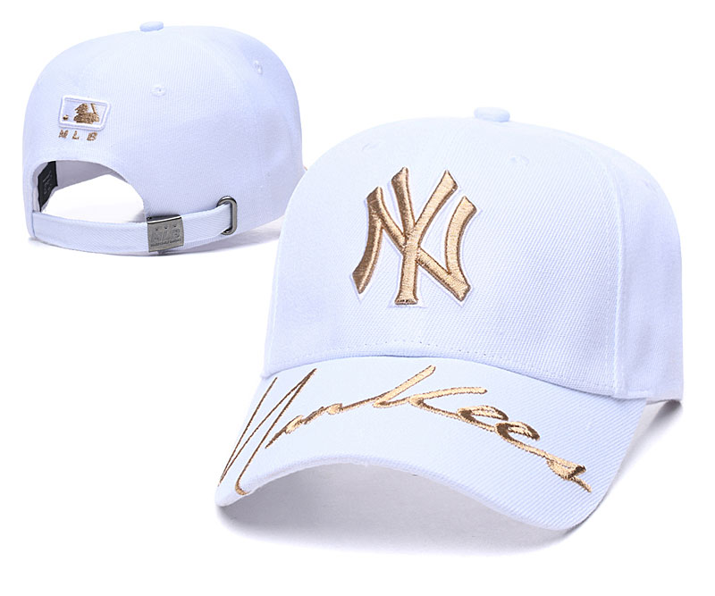 Yankees Team Gold Logo White Peaked Adjustable Hat TX
