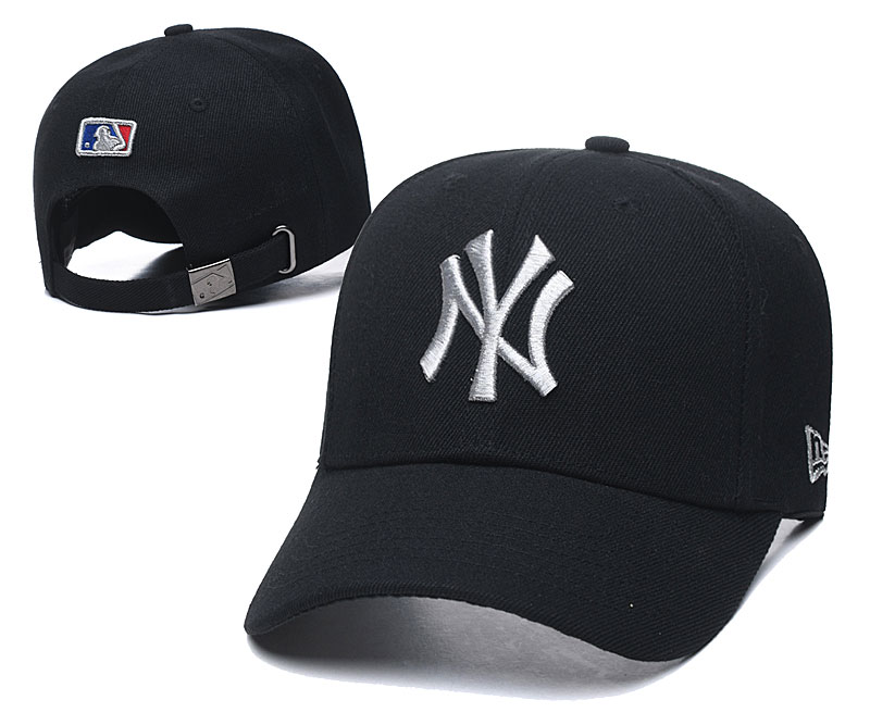 Yankees Team Silver Logo Black Peaked Adjustable Hat TX