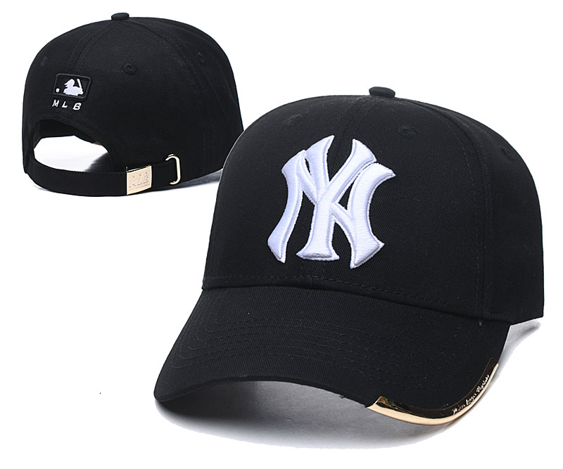 Yankees Team White Logo Black Peaked Adjustable Hat TX