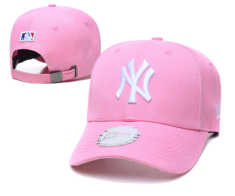 Yankees Team White Logo Pink Peaked Adjustable Hat TX