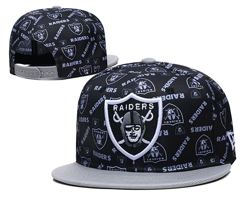 Raiders Team Logos Black Gray Adjustable Hat LH