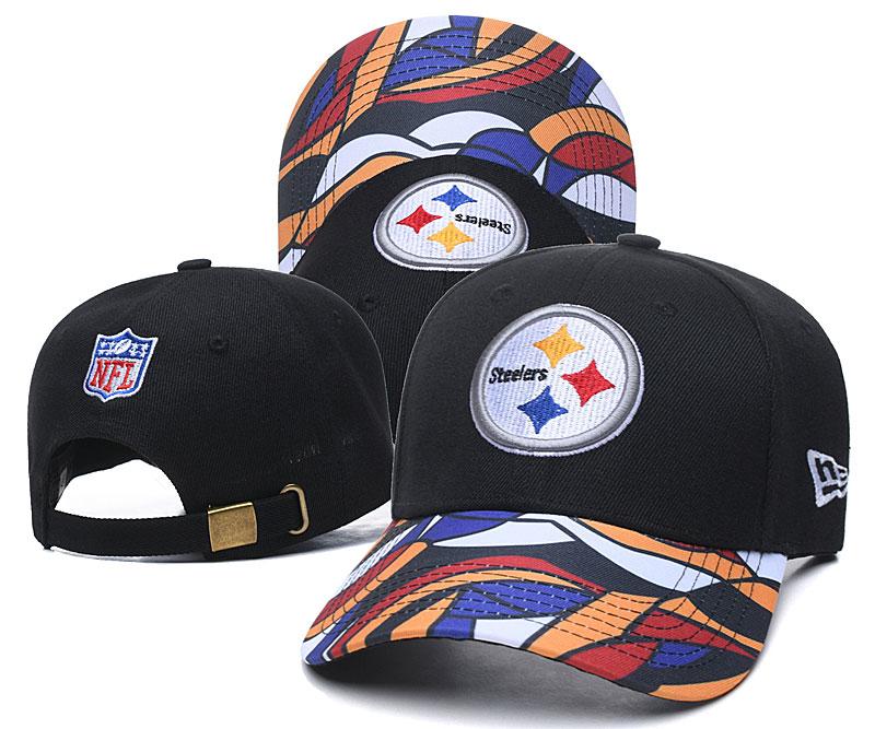 Steelers Team Logo Black Peaked Adjustable Hat LH