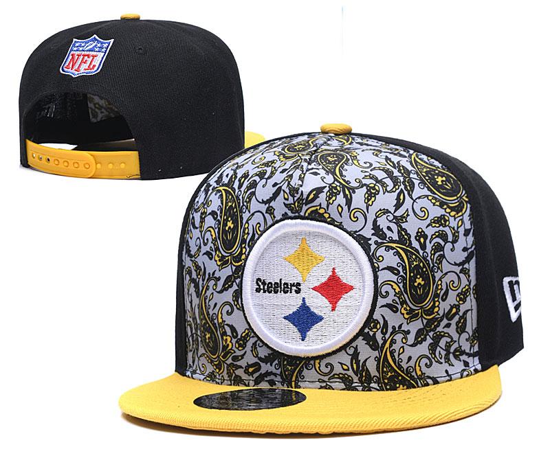 Steelers Team Logo Black Yellow Fashion Adjustable Hat LH