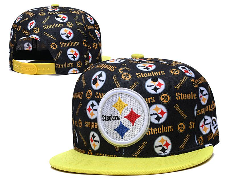 Steelers Team Logos Black Yellow Adjustable Hat LH