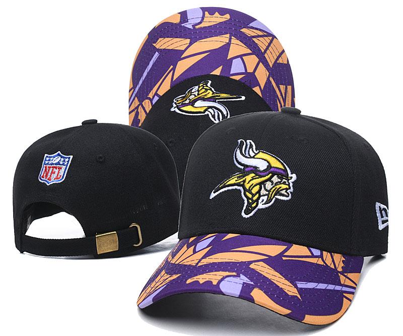 Vikings Team Logo Black Peaked Adjustable Hat LH