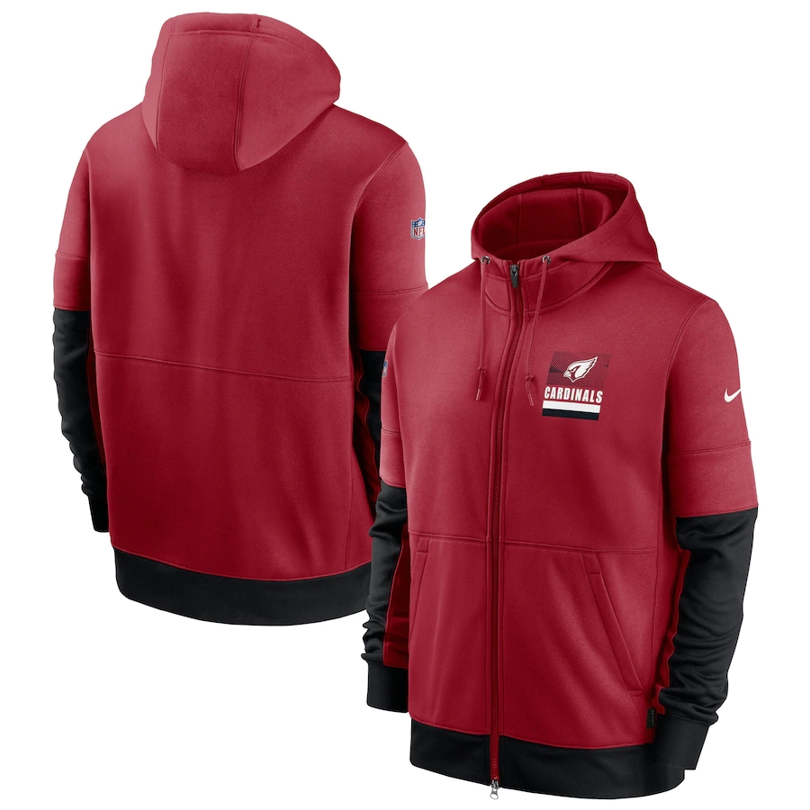 Men's Arizona Cardinals New 2020 Nike Red Black Fan Gear Mascot Performance Full Zip Hoodie