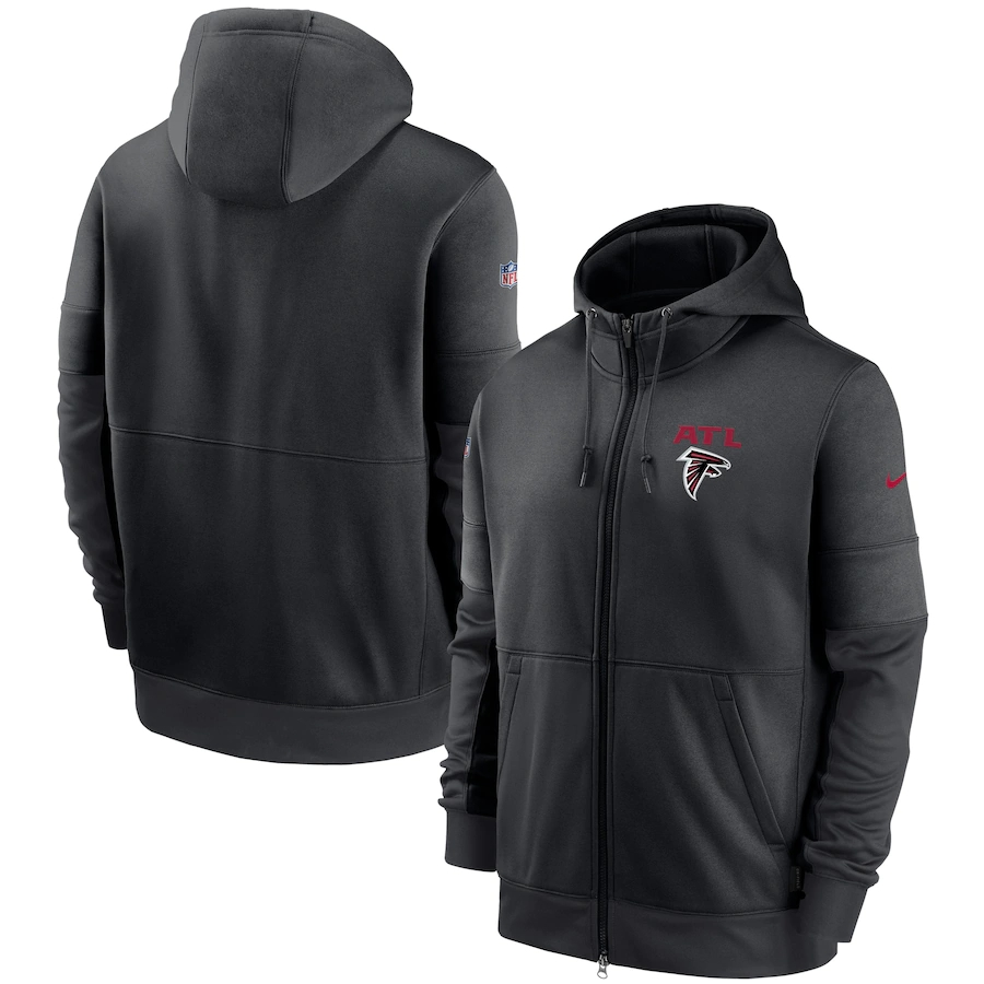 Men's Atlanta Falcons New 2020 Nike Gray Black Fan Gear Mascot Performance Full Zip Hoodie