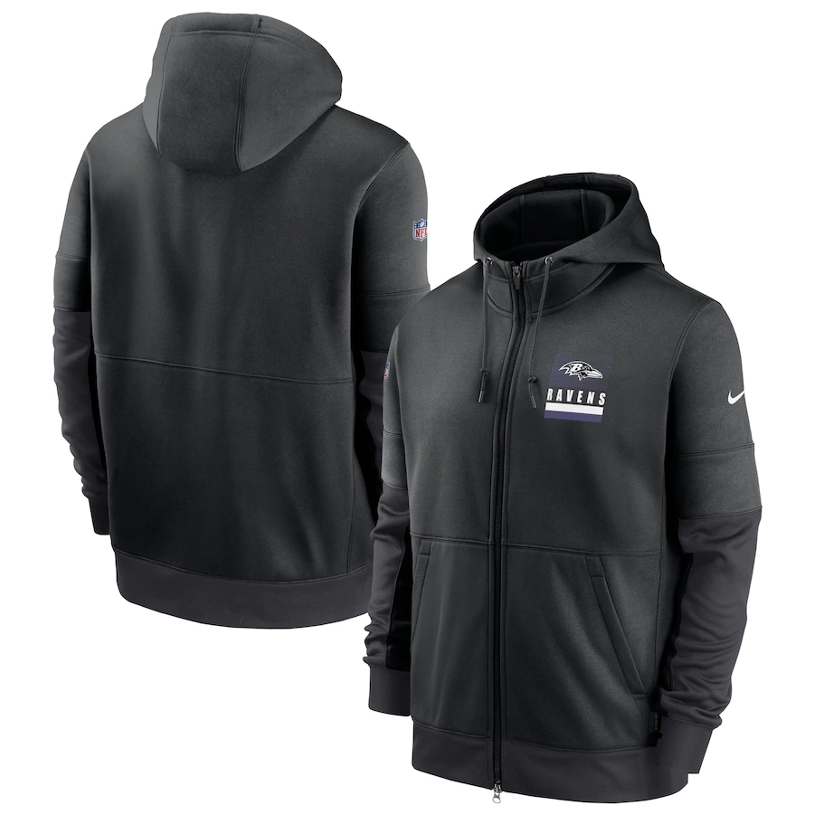 Men's Baltimore Ravens New 2020 Nike Gray Black Fan Gear Mascot Performance Full Zip Hoodie