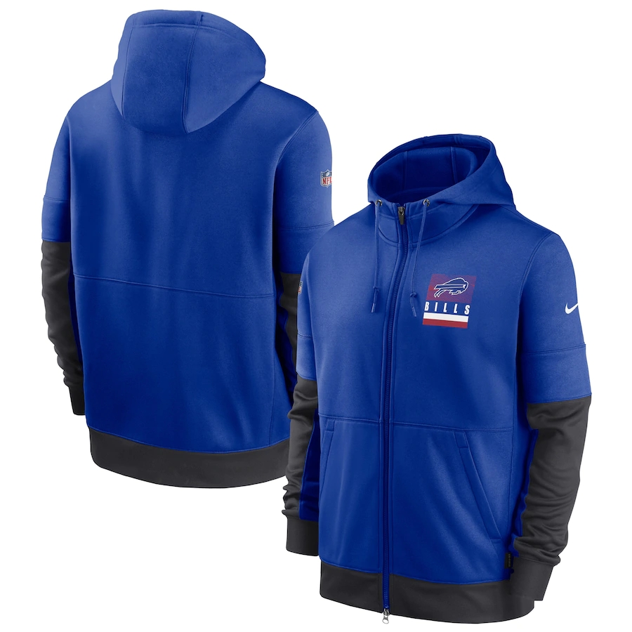 Men's Buffalo Bills New 2020 Nike Royal Gray Fan Gear Mascot Performance Full Zip Hoodie