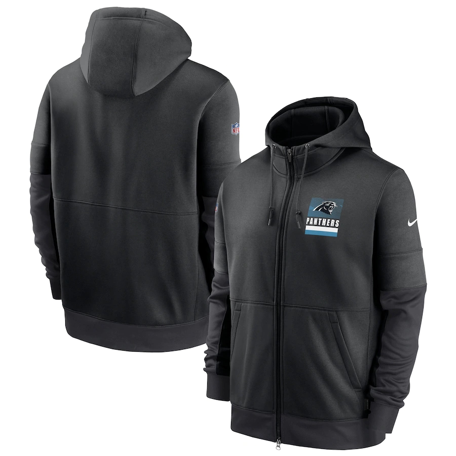 Men's Carolina Panthers New 2020 Nike Gray Black Fan Gear Mascot Performance Full Zip Hoodie
