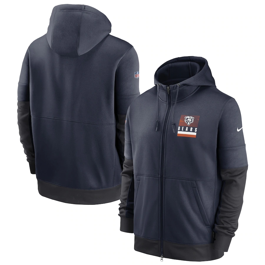 Men's Chicago Bears New 2020 Nike Gray Black Fan Gear Mascot Performance Full Zip Hoodie