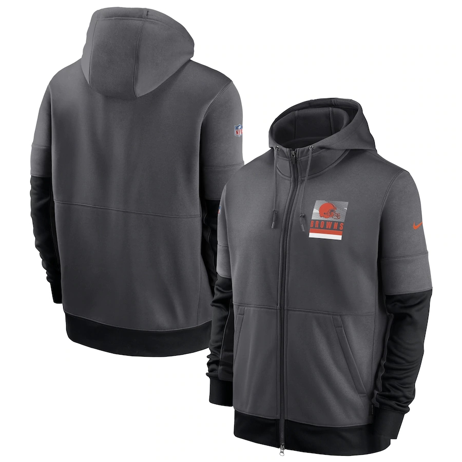 Men's Cleveland Browns New 2020 Nike Gray Black Fan Gear Mascot Performance Full Zip Hoodie