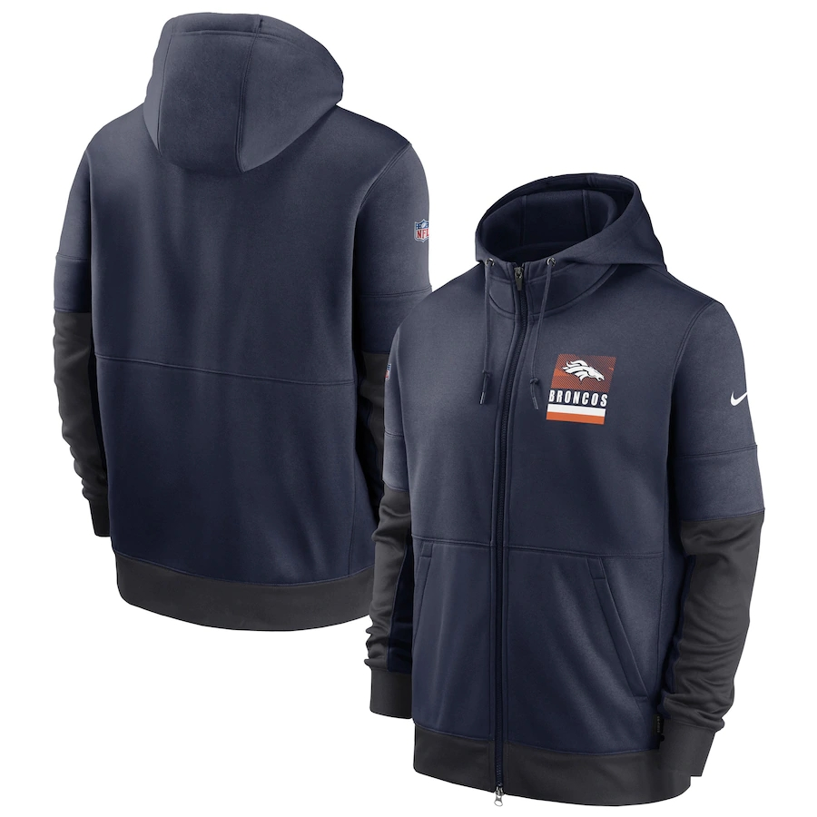 Men's Denver Broncos New 2020 Nike Gray Black Fan Gear Mascot Performance Full Zip Hoodie