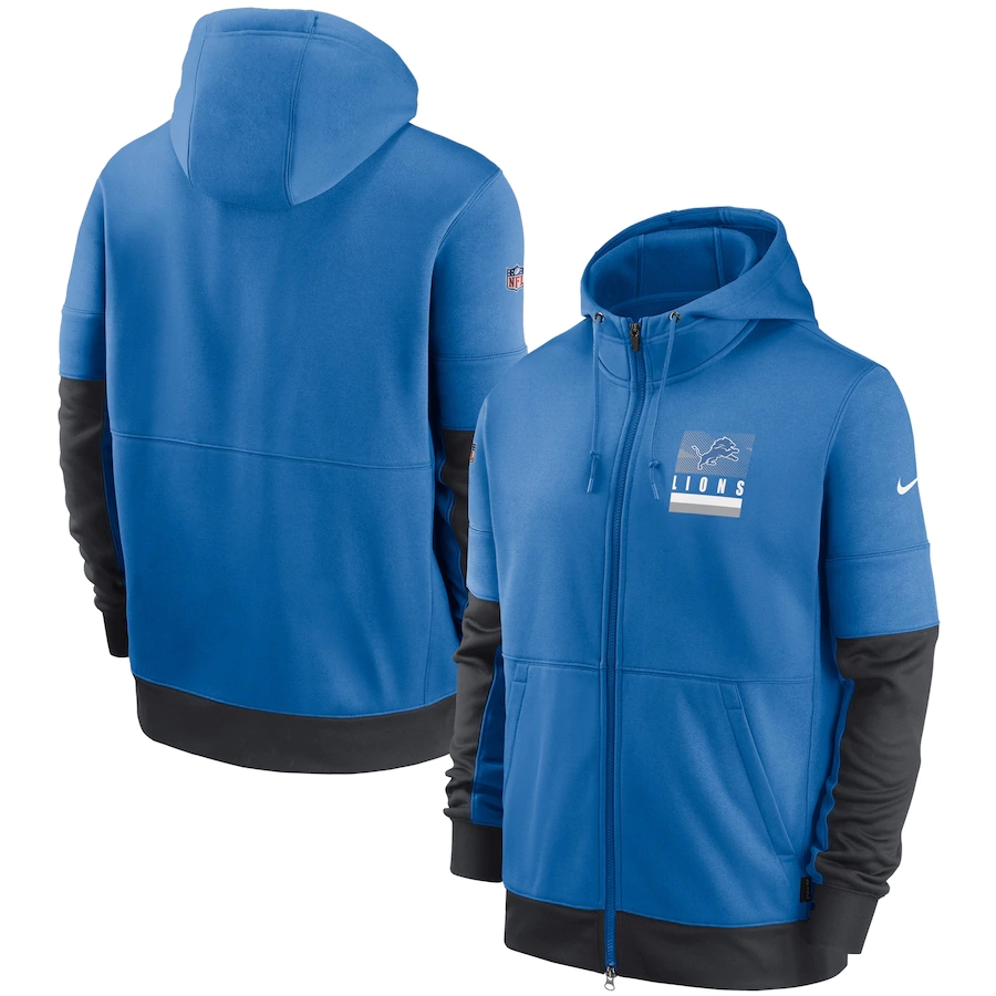Men's Detroit Lions New 2020 Nike Blue Black Fan Gear Mascot Performance Full Zip Hoodie