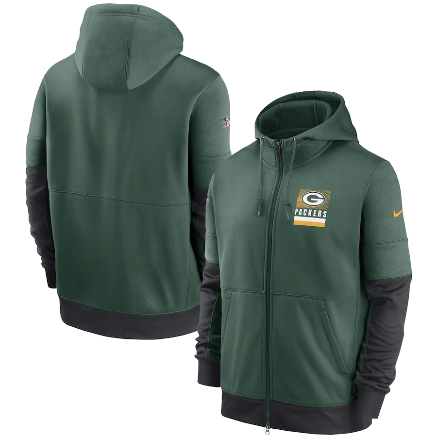 Men's Green Bay Packers New 2020 Nike Green Black Fan Gear Mascot Performance Full Zip Hoodie