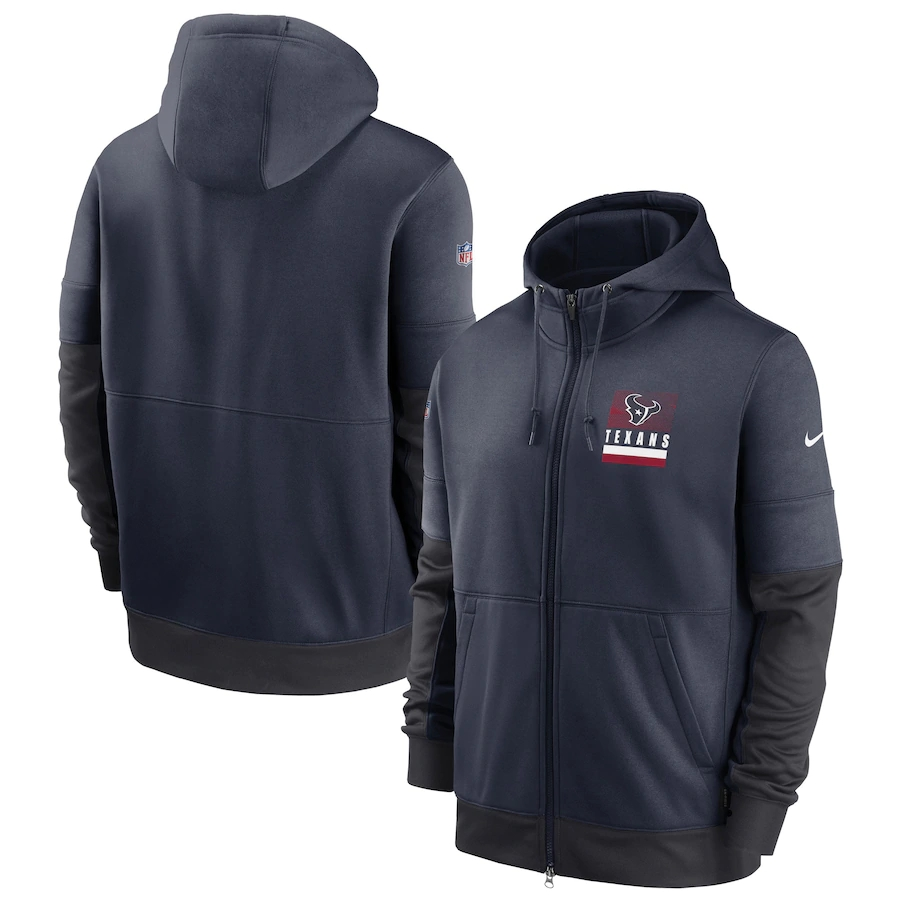 Men's Houston Texans New 2020 Nike Gray Black Fan Gear Mascot Performance Full Zip Hoodie