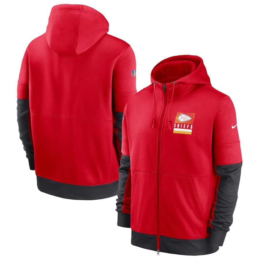Men's Kansas City Chiefs New 2020 Nike Red Black Fan Gear Mascot Performance Full Zip Hoodie