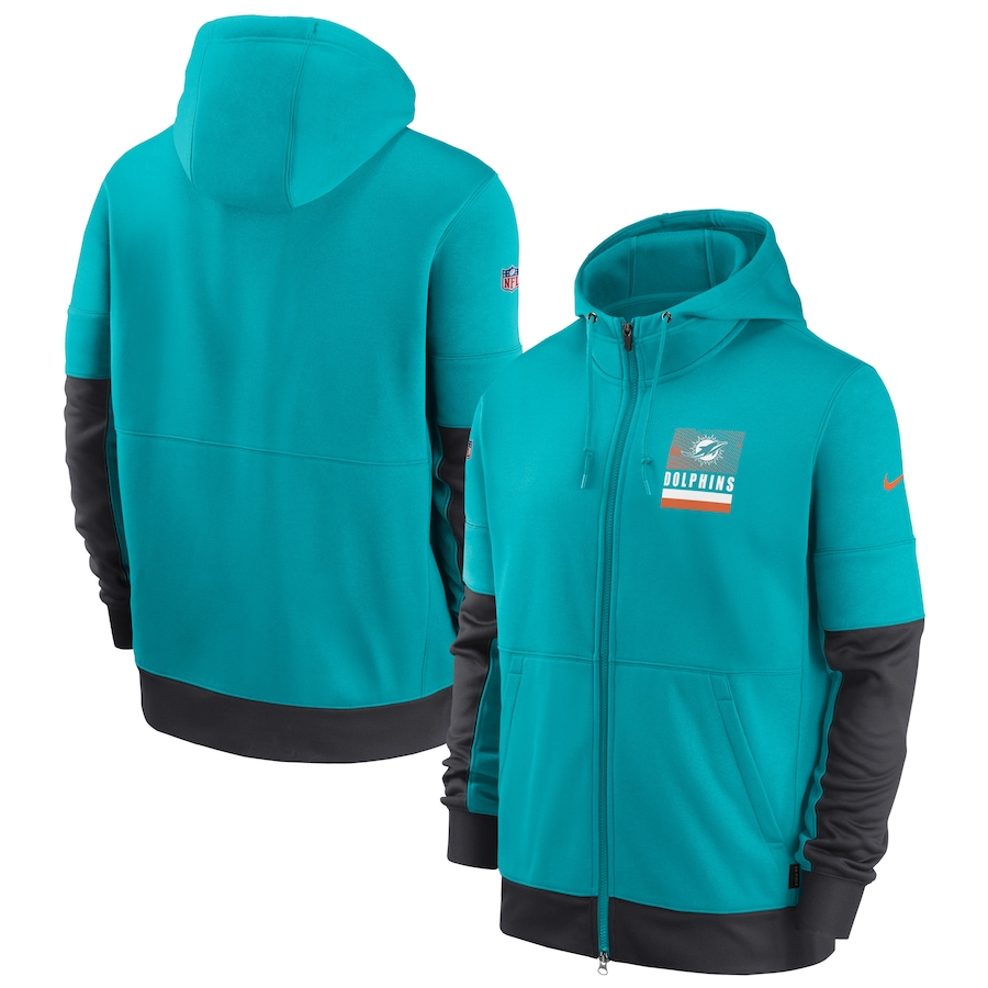 Men's Miami Dolphins New 2020 Nike Aque Black Fan Gear Mascot Performance Full Zip Hoodie