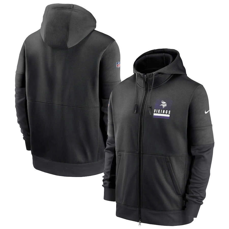 Men's Minnesota Vikings New 2020 Nike Gray Black Fan Gear Mascot Performance Full Zip Hoodie