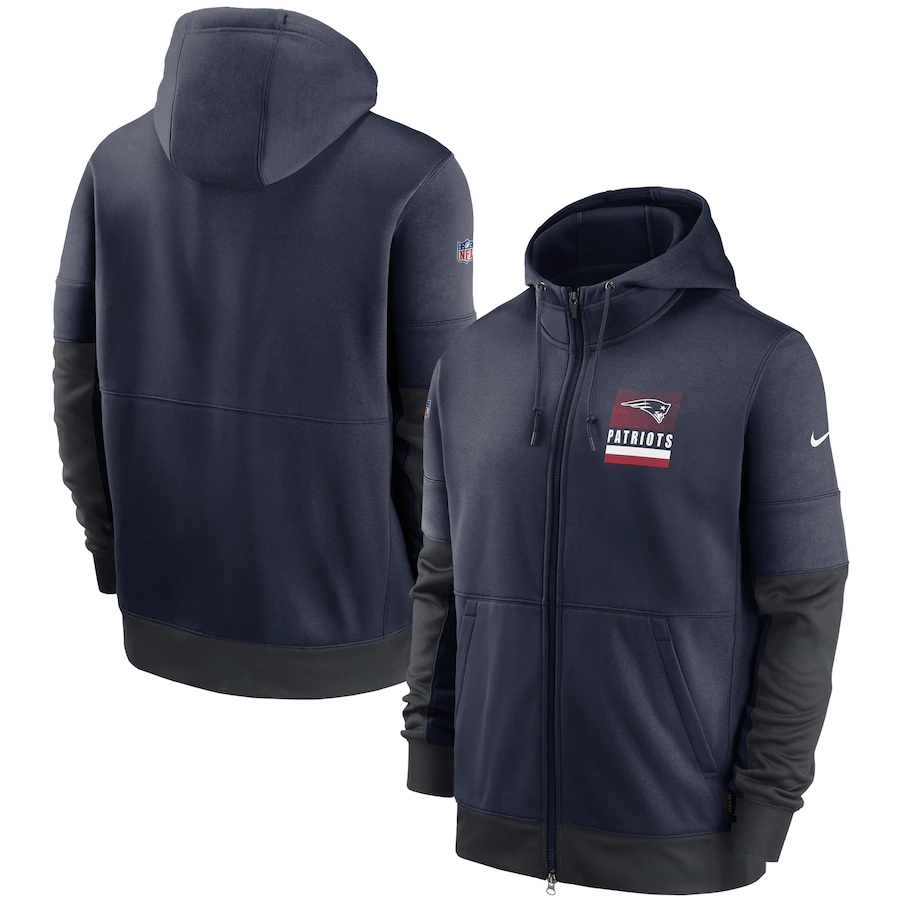 Men's New England Patriots New 2020 Nike Navy Gray Fan Gear Mascot Performance Full Zip Hoodie