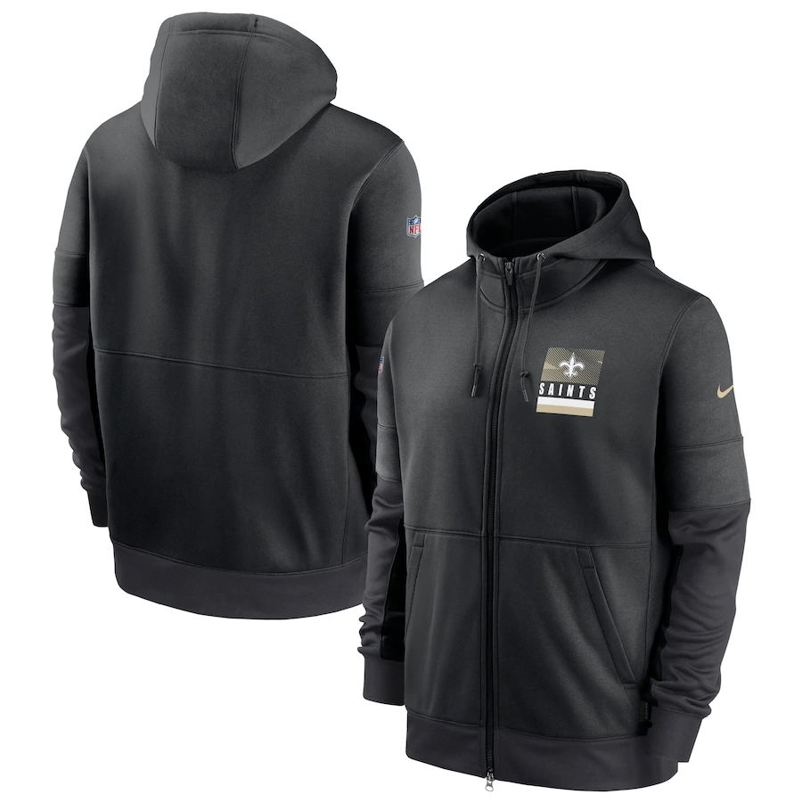 Men's New Orleans Saints New 2020 Nike Gray Black Fan Gear Mascot Performance Full Zip Hoodie