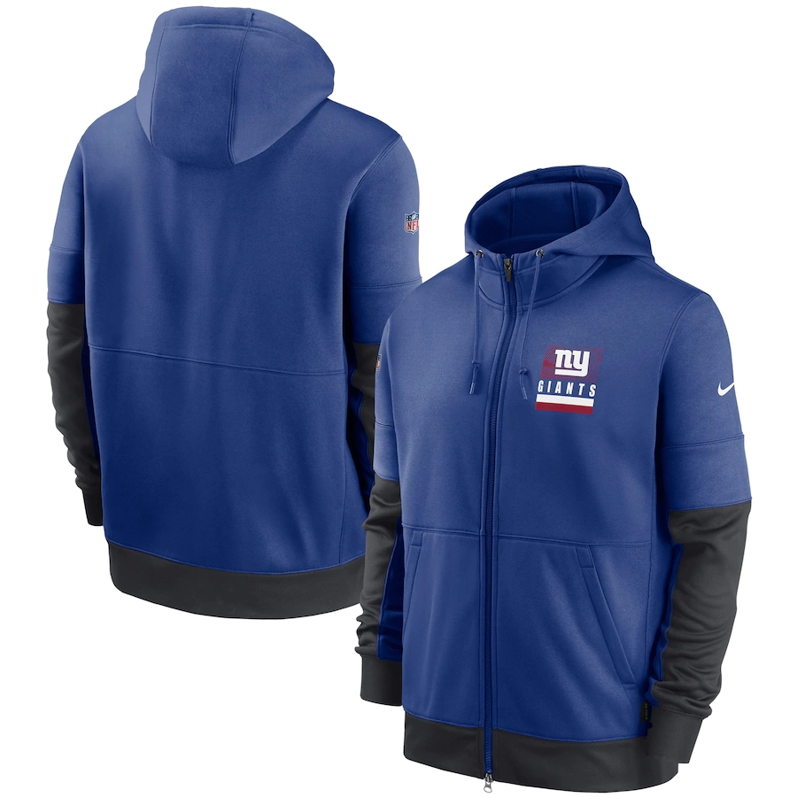 Men's New York Giants New 2020 Nike Royal Black Fan Gear Mascot Performance Full Zip Hoodie