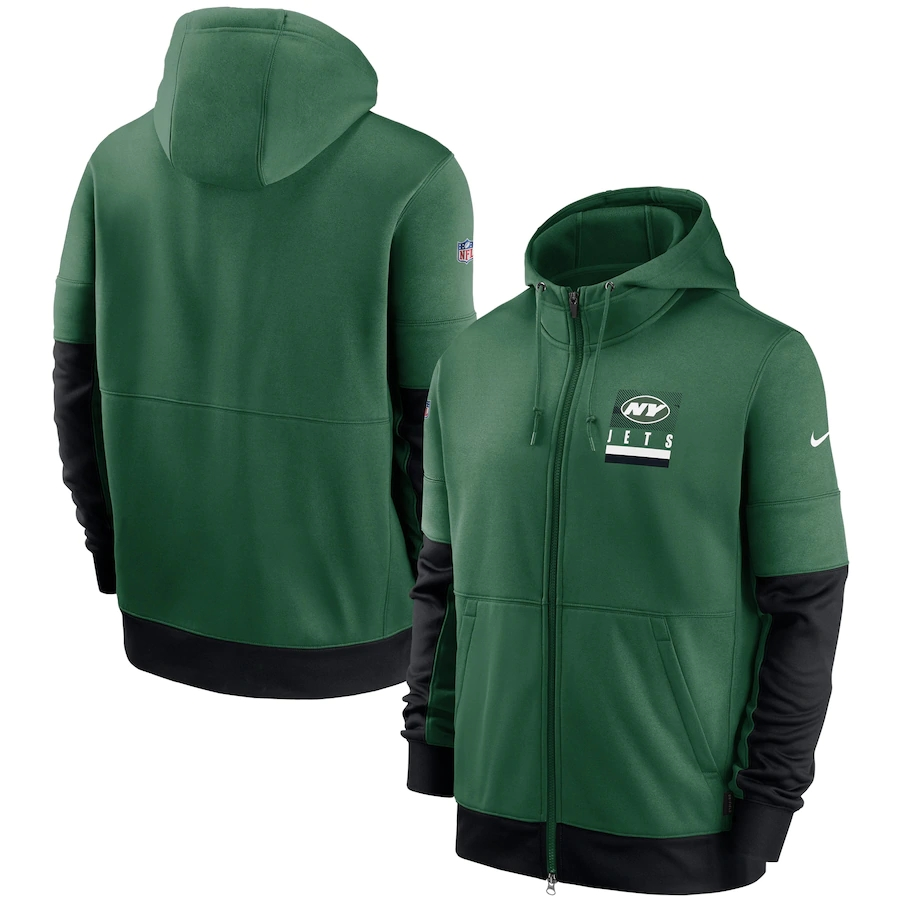 Men's New York Jets New 2020 Nike Green Black Fan Gear Mascot Performance Full Zip Hoodie