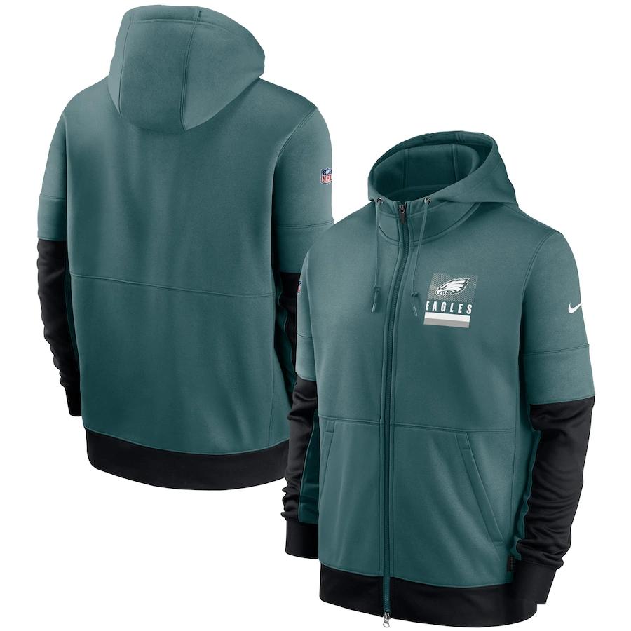Men's Philadelphia Eagles New 2020 Nike Green Black Fan Gear Mascot Performance Full Zip Hoodie