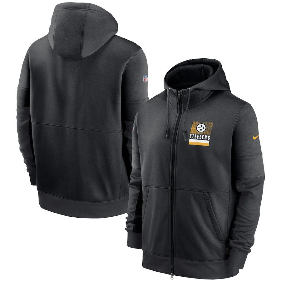 Men's Pittsburgh Steelers New 2020 Nike Gray Black Fan Gear Mascot Performance Full Zip Hoodie