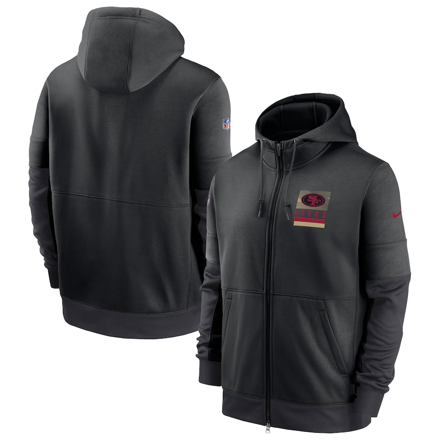 Men's San Francisco 49ers New 2020 Nike Gray Black Fan Gear Mascot Performance Full Zip Hoodie