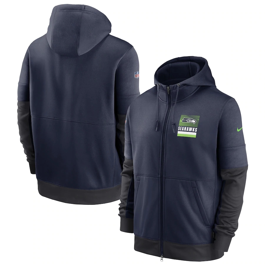 Men's Seattle Seahawks New 2020 Nike Gray Black Fan Gear Mascot Performance Full Zip Hoodie