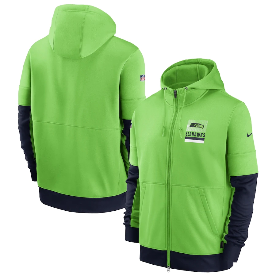 Men's Seattle Seahawks New 2020 Nike Green Black Fan Gear Mascot Performance Full Zip Hoodie