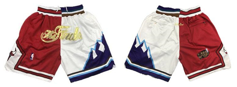 Bulls And Jazz Red White Split Just Don NBA Finals Shorts