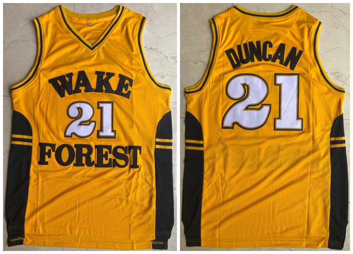 Wake Forest Demon Deacons 21 Tim Duncan Yellow College Basketball Jersey