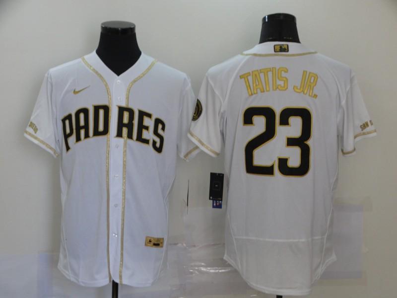 Padres 23 Fernando Tatis Jr. White Gold Nike Flexbase Jersey