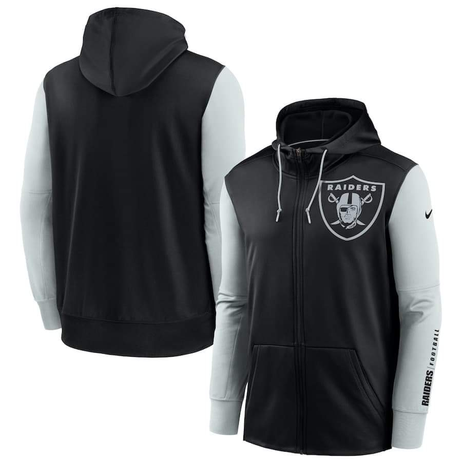 Men's Las Vegas Raiders Nike Black Silver Fan Gear Mascot Performance Full-Zip Hoodie