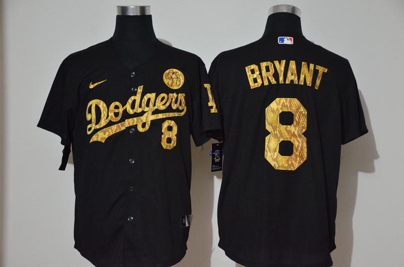 Dodgers 8 Kobe Bryant Black Gold 2020 Nike KB Cool Base Jersey
