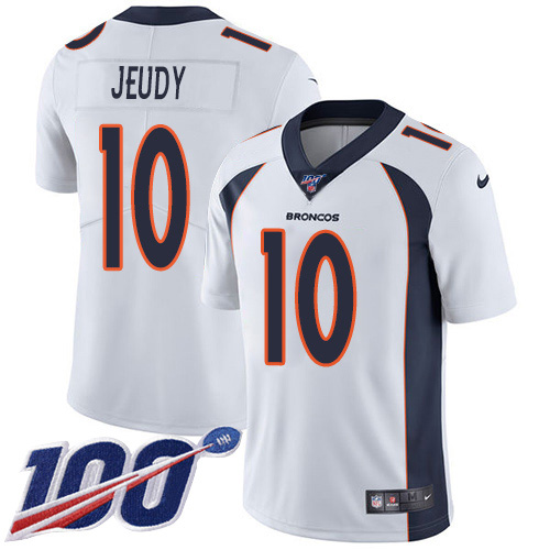 Nike Broncos 10 Jerry Jeudy White 100th Season Vapor Untouchable Limited Jersey