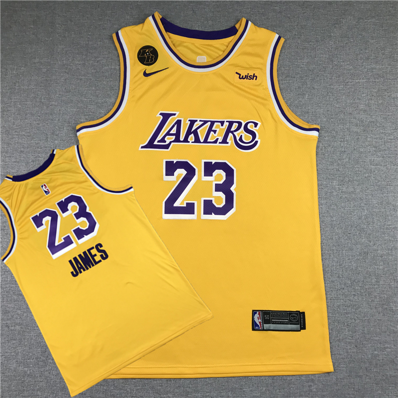 Lakers 23 Lebron James Yellow KB Nike Swingman Jersey